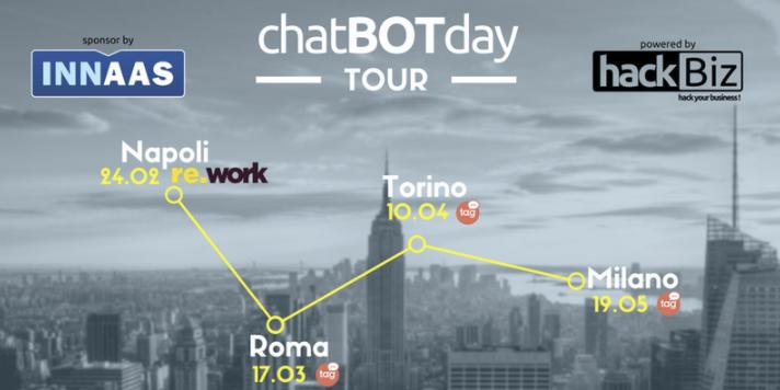 chatBOTday tour arriva a Milano, il 19 maggio al Talent Garden Merano!